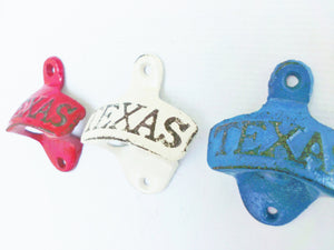 Texas Bottle Opener Pick Your Color Red White or Blue Rustic Cast Iron Wall Mount