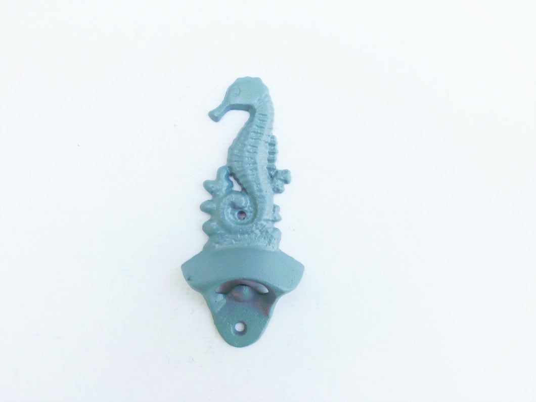 Wall Mounted Bottle Opener Sea Horse Slate Blue/Gray Rustic Cast Iron Seahorse Nautical Beach Decor