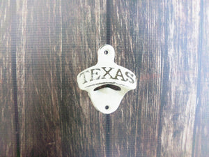 Texas Bottle Opener Ivory Wall Mounted Rustic Cast Iron Primitive Decor