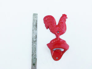 Bottle Opener Rooster Fire Engine Red Rustic Cast Iron Wall Mount Farmhouse Country Decor