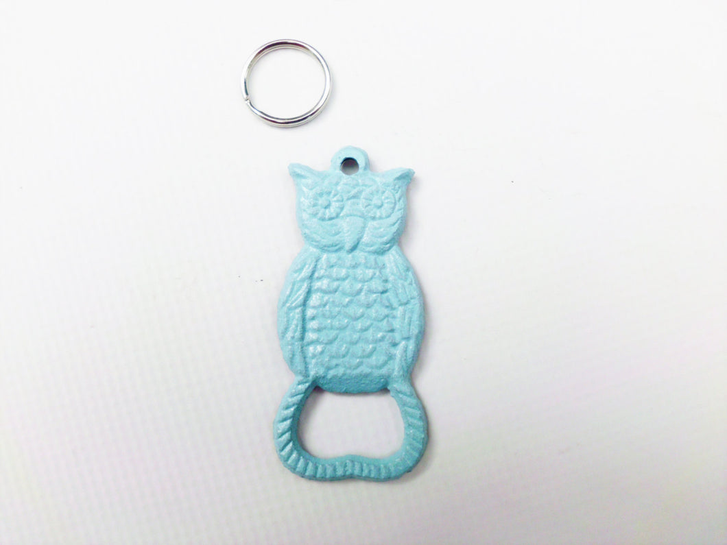 Owl Keychain Bottle Opener Light Blue Primitive Cast Iron Key Chain Bar Accessory Beer Soda Pop Trendy