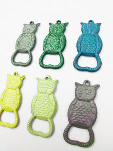 Owl Bottle Opener Keychain Pick Your Color Rustic Primitive Cast Iron Key Chain Bar Accessory Beer Soda Pop Trendy