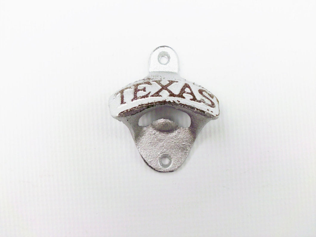 Texas Bottle Opener Metallic Silver Wall Mounted Rustic Cast Iron Primitive Deco