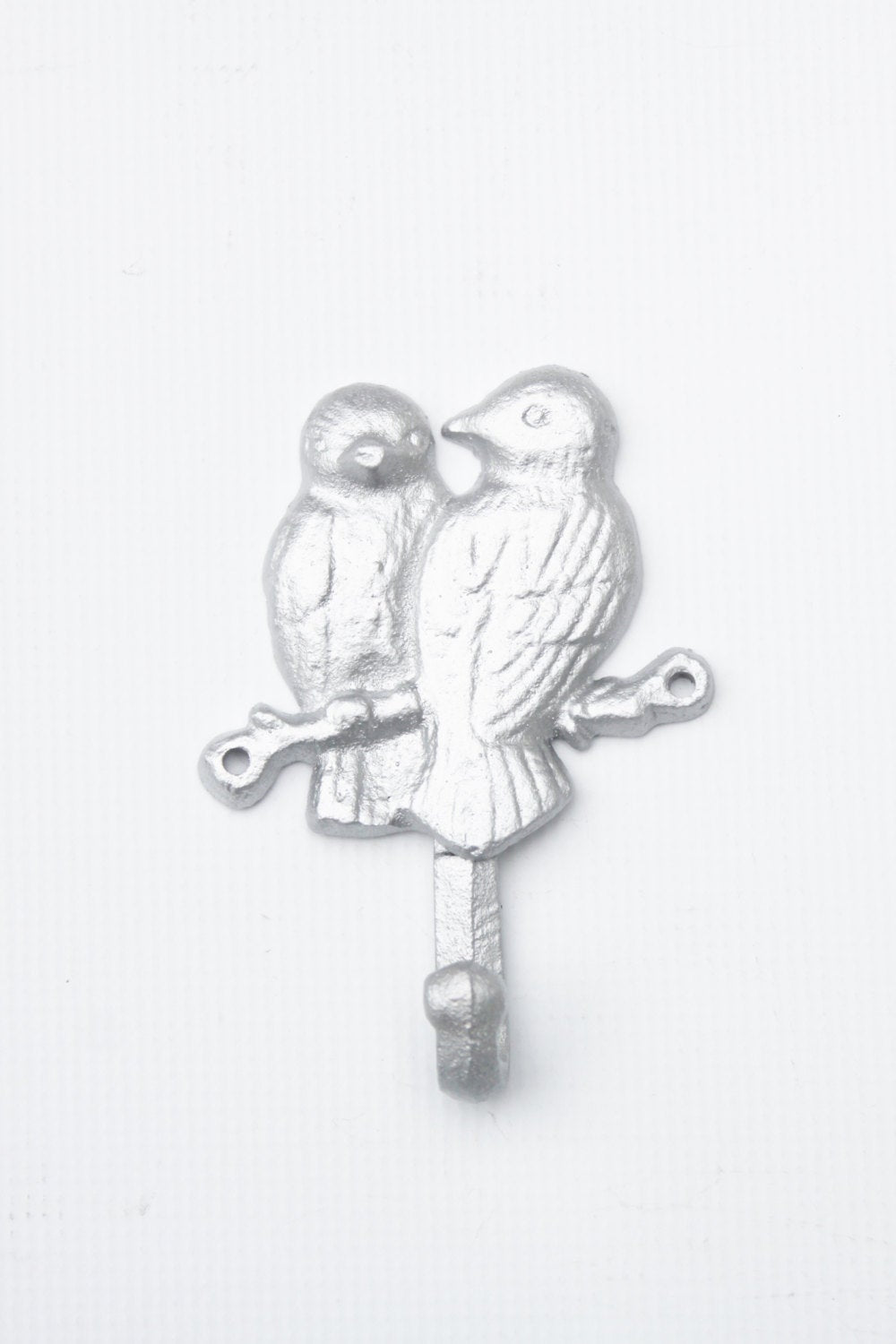 Love Bird Hook Coat Rack Metallic Silver Shabby Wall Hanger Cast Iron Woodland Decor Doves