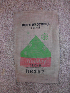 Burlap Coffee Bag, Holiday Blend Dunn Bros Gunny Sack Red Green Christmas Colorful Retro Starbursts/Snowflakes