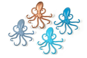 Octopus Key Hooks Aqua Cast Iron Nautical Decor Beach Pool/Boat House Nursery Wall Rack