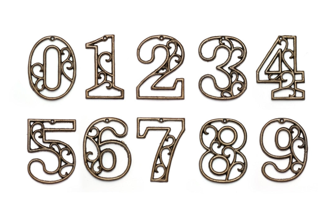 Rustic Cast Iron House Numbers Wall Aged Brass Hangers Decorative Victorian Decor 4.5 inches
