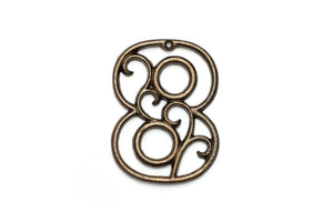 Eight Cast Iron House Number 8 Aged Brass Wall Decor Decorative Victorian Decor 4.5 inches
