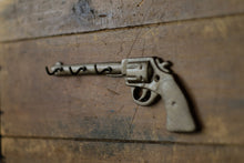 Load image into Gallery viewer, Key Hooks Pistol Aged Brass Revolver Man Cave Decor Cast Iron Wild West Revolver Old Gun Stocking Stuffer Gift for Dad Rustic Glam