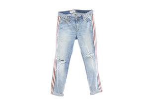 "Levis ""Boyfriend"" Distressed Light Denim with Navy, Red and White Vintage Ribbon, 1.5 inches, Size 25"