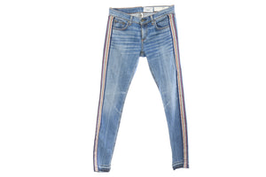 "Rag and Bone Undone Hem ""The Dre"" Jeans Side Striped with Navy MultiColor Ribbon, Size 26/27"