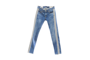 "Rag and Bone, ""The Dre"" Medium Blue Wash with Navy and White Microstripes, size 26 (listed as 25)"