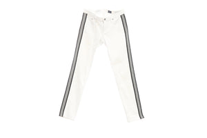 "White AG ""The Stilt"" Jeans with Dark Navy/Black and White Stripes, Size 28"
