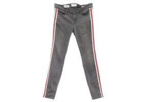 "Frame ""Le Skinny De Jeanne"" Grey Jeans with Ivory, Burgundy and Blue Side Stripe, 1.5 inches, Size 30"