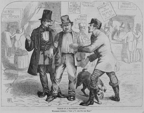 A depiction of politicians trying to buy votes from an 1857 Harper's Weekly. (Photo: Library of Congress/LC-USZ62-118006)