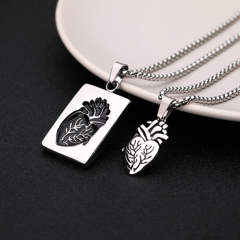 Anatomical Heart Matching Couples Necklaces Stainless Steel