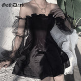 Cinched Velvet Dress with Transparent Sleeves