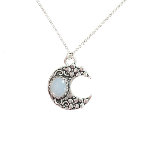 Antique Silver Opalite Crescent Moon Necklace