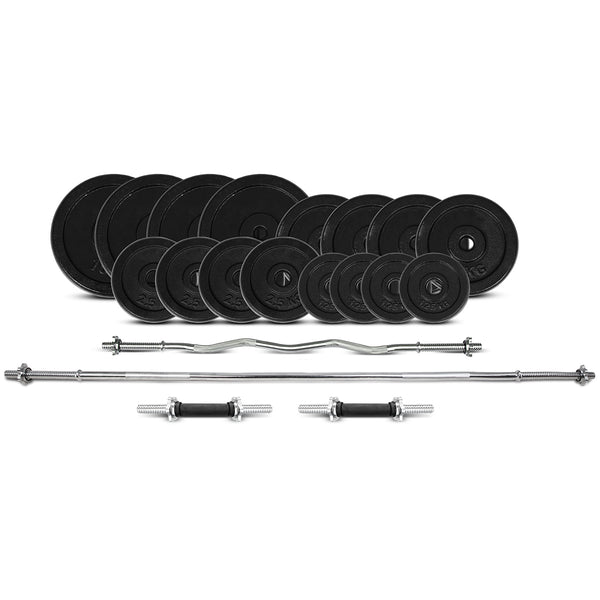 CORTEX 90kg Cast Iron Weight Set With Bars (Standard)
