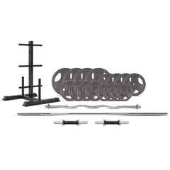 CORTEX 90kg Tri-Grip 25mm Standard Barbell Weight Set with Weight Tree
