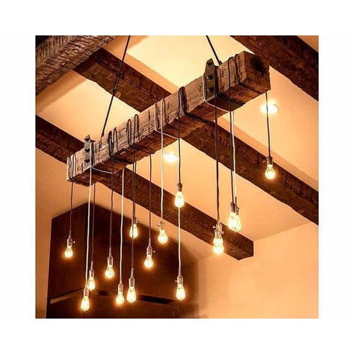 6 Foot Reclaimed Barn Wood Beam Chandelier