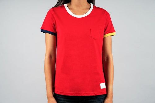 woman wearing red sports tee