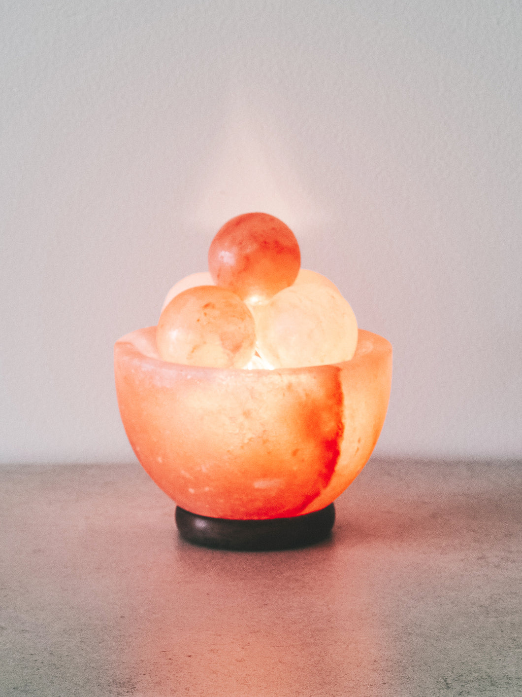 Himalayan Salt Fire Bowl Lamp - With Massage Balls