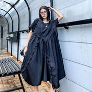 XITAO Plus Size Pleated Dress Fashion New 2020 Pullover Goddess Fan Black Solid Color Ruffle Minority Casual Style Dress GCC3863