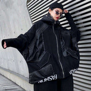 XITAO PU Letter Women Jacket Fashion New Plus Size 2019 Autumn Winter Batwing Sleeve Pocket Full Sleeve Casual Coat ZLL4443