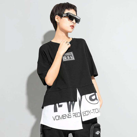 XITAO Irregular Women T Shirt Fashion New Women False Two Piece Pullover Goddess Fan Casual Style Minority Loose Tee Top DZL1063
