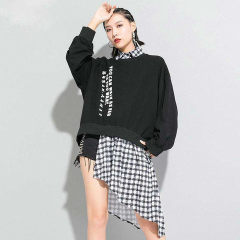 XITAO Irregular Plaid Sweatshirt Fashion New Patchwork Letter False Two Piece Pleated 2020 Spring Minority Sweatshirt XJ3763