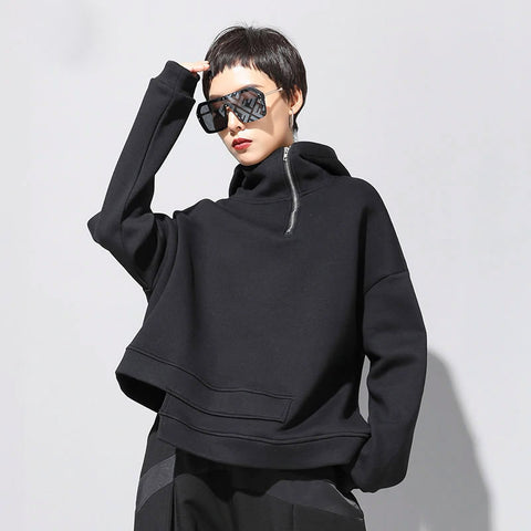 XITAO Black Women Sweatshirt Fashion New Hooded Collar Irregular Pleated Elegant Small Fresh Casual Minority Sweatshirt DMY1615