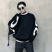 Spliced Color Black And White Knitted Sweaters Batwing Sleeve Hip Hop Sweaters Men Loose Oversized Striped Sweater