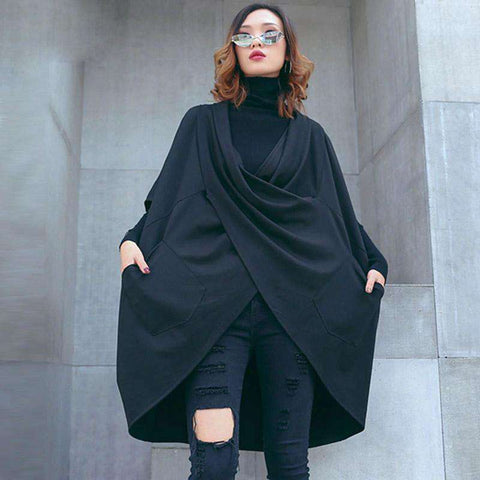 XITAO Large Size Loose Black T Shirt Women Korea Fashion New 2019 Autumn Elegant Batwing Sleeve Irregular Pocket Coat WQR1998