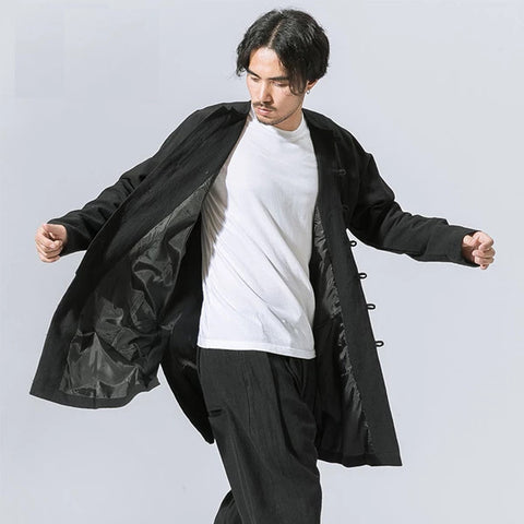 Men's autumn winter Tang suit long sleeve young man overcoat middle-long loose large retro Chinese style Han windbreaker