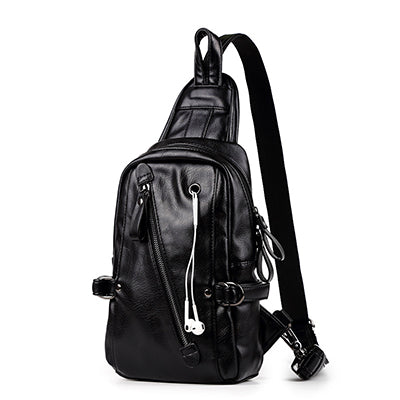 New Fashion Men Messenger Bag Waterproof Chest Pack Sling Shoulder Bags Casual Crossbody Korean Version pu leather black travel