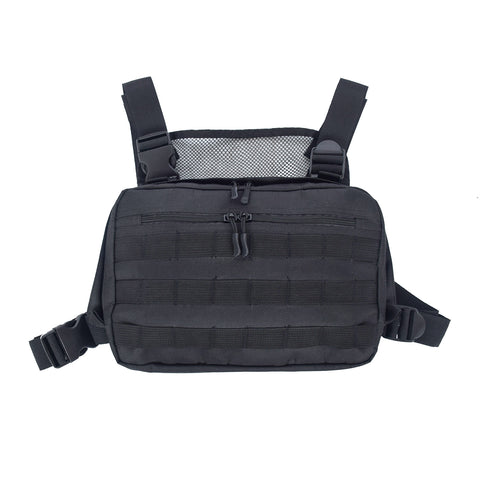 Black Men Chest Bag Adjustable Oxford Tactical Chest Rig Hip Hop Streetwear Functional Shoulder Bag Waist Packs Kanye West