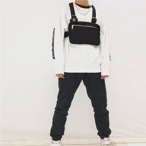 Chest Rig Bags Adjustable Tactical Vest Pocket Hip Hop Streetwear Functional Tactical Chest Pack Bag Shoulder Bag Kanye West