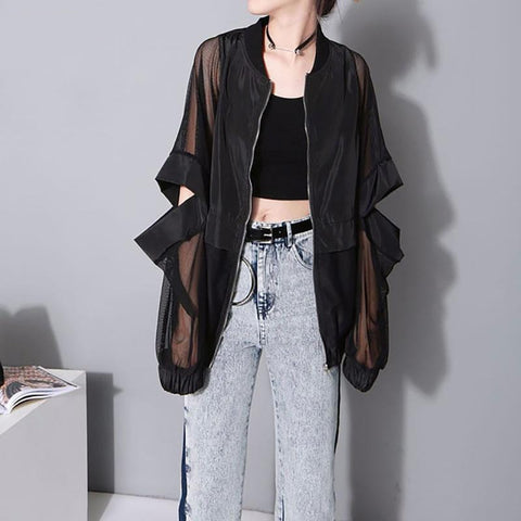 XITAO Sexy Semipermeable Thin Black Jacket Sunscreen Hollow Out Patchwork Women Clothes 2019 Coat Top Fashion Autumn  ZLL4147