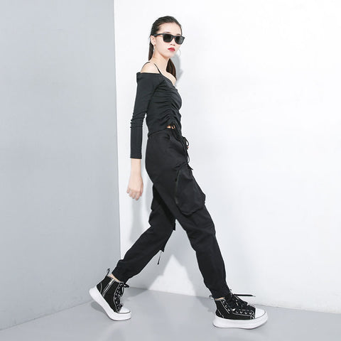 XITAO Slim Drawstring Pants Women Elastic Waist Pocket Patchwork Black Minority Small Fresh New 2019 Autumn Harem Pants GCC1548