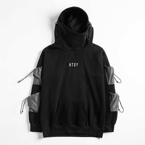 black hoodie with side pockets