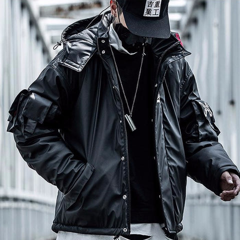 PU Leather Hooded Parkas Jacket Techwear Hip Hop Padded Jackets Harajuku Windbreaker Japanese Streetwear Coats