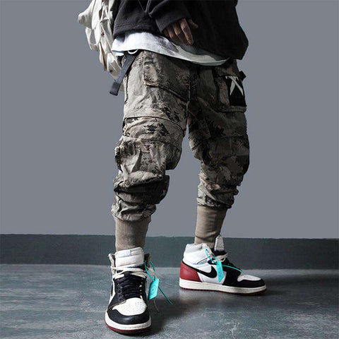 Detachable Multi-Pocket Cargo Pants Men Harajuku Hip Hop Streetwear Joggers Man Elastic Waist Sweatpants Techwear
