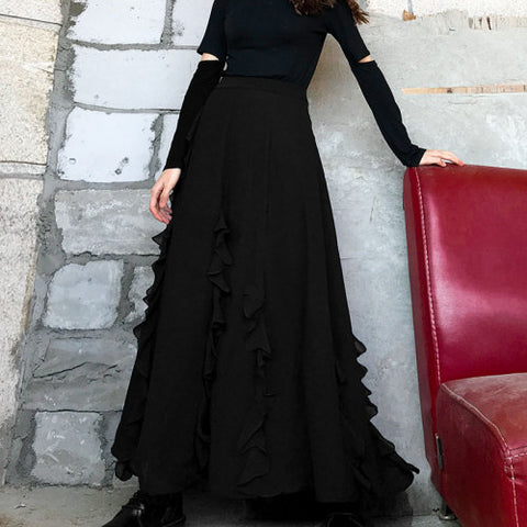 XITAO Pleated Women Black Skirt Fashion New 2020 Spring Elastic Waist Small Fresh Casual Loose Minority Ruffle Skirt DMY2443