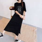 XITAO Plus Size Character Pattern Dress Women Clothes 2020 Summer New Fashion Loose Pullover Short Sleeve Elegant Dress DZL1018