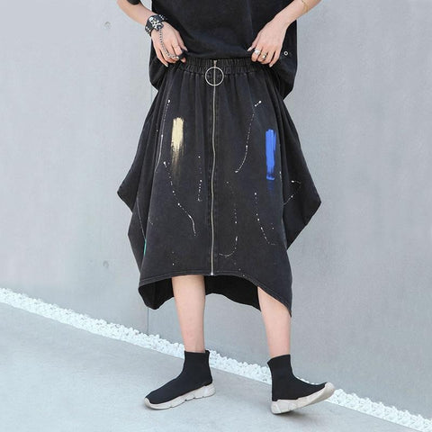 XITAO High Waist Pleated Zipper Skirt Irregular Hand Drawn Doodles Personality Women Clothes 2020 Elastic Waist Skirt GCC3616