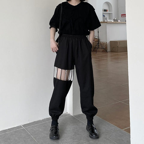 XITAO Two Piece Set Women Fashion New Black Pullover Top Elastic Waist Hollow Out Pocket Full Length Pants 2020 Summer XJ4855