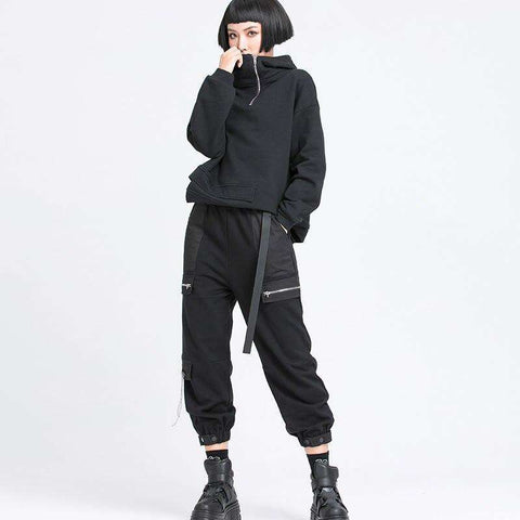 XITAO Women Black Cargo Pants Fashion New 2020 Spring Pocket Patchwork Pleated Minority Casual Ankle Length Pants DMY2925