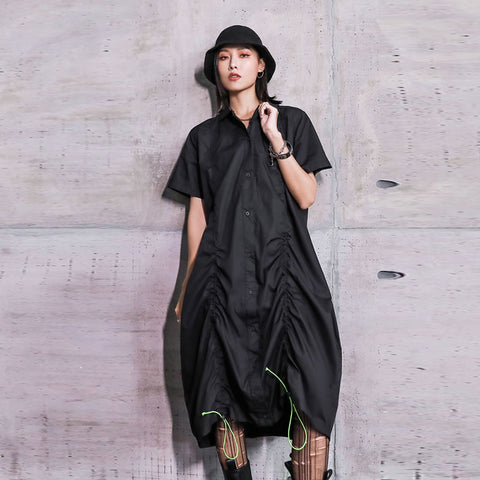 XITAO Tide Fashion Drawstring Pleated Dress Women Clothes Summer Loose Plus Size Turn Down Collar Short Sleeve Dress DZL1143