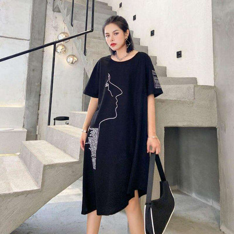 XITAO Irregular Print Dress Fashion New Women 2020 Summer Letter Pullover Goddess Fan Casual Style Loose Pleated Dress ZLL5213